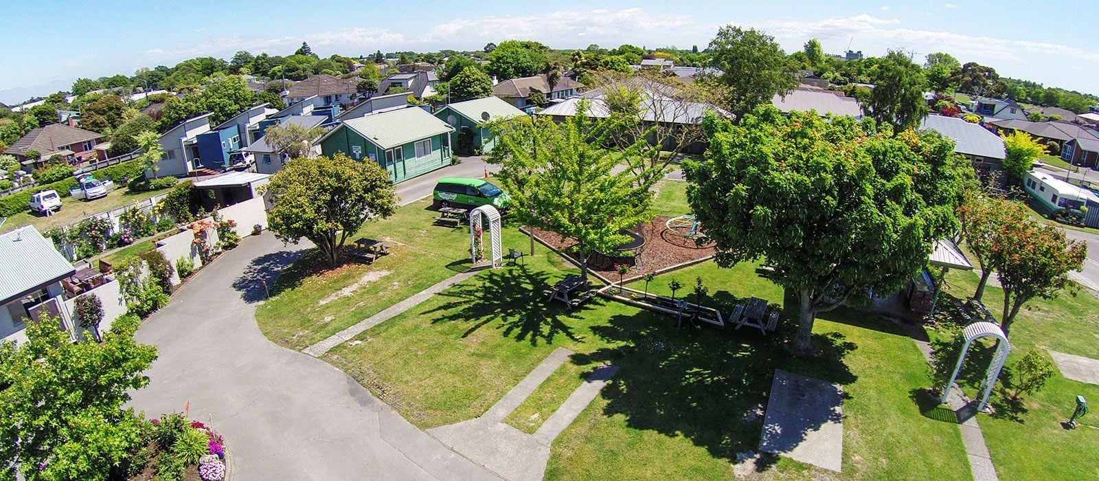 Landscaped Gardens, Holiday Park Accommodation Christchurch