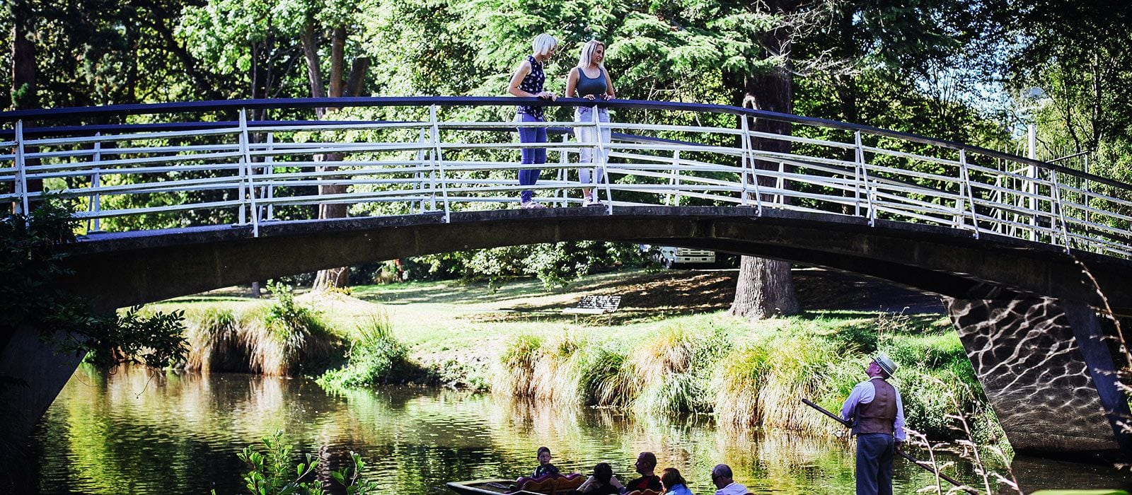 Looking Over Bridge At Christchurch Botanic Gardens